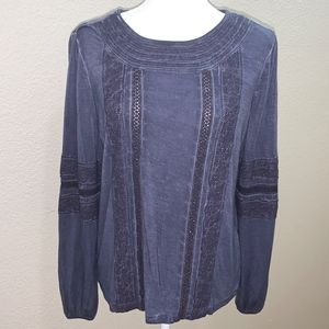 Max Jeans Long Sleeve Navy Top with Lace NWT